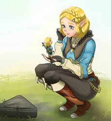 Zelda and tiny Link from Breath of the Wild 2