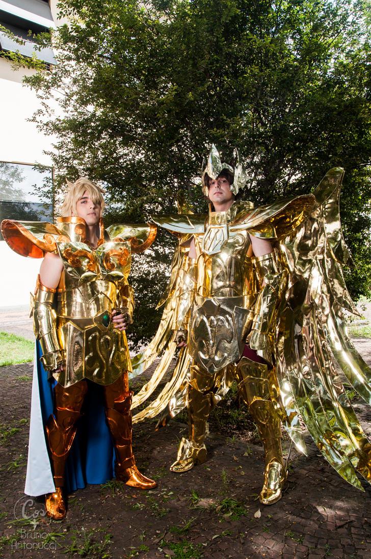Leo no Aiolia and Sagittarius no Aioros by tiagodiemer