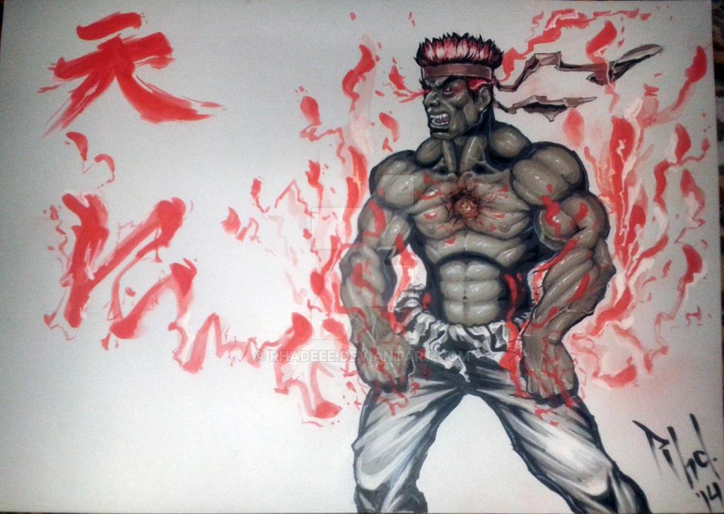 Evil Ryu - Fan art. by rhadEEE