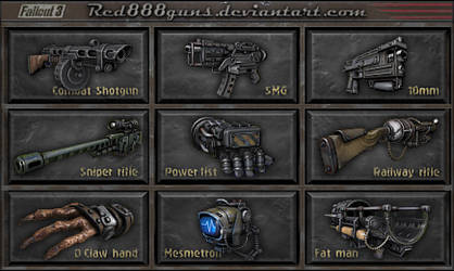 Fallout 3 weapons for classic Fallout by Red888guns