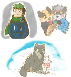 .Mixed Fandoms: Snowy day doodles.+