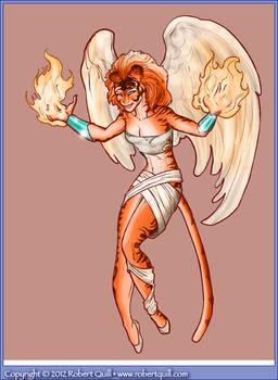 Flame Wielding Cat-Angel