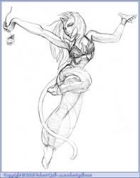 Cat Gypsy Dancer by robertquill