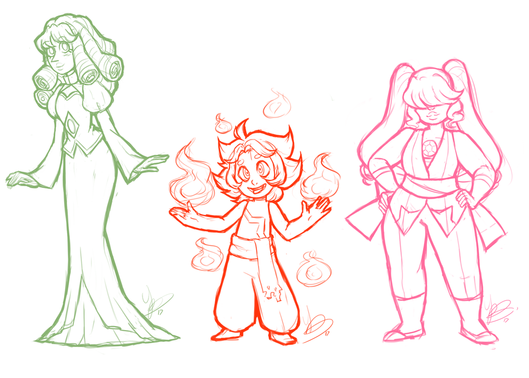 brush test- Green Pearl-Fire Opal- Morganite by SWAG-Daddy