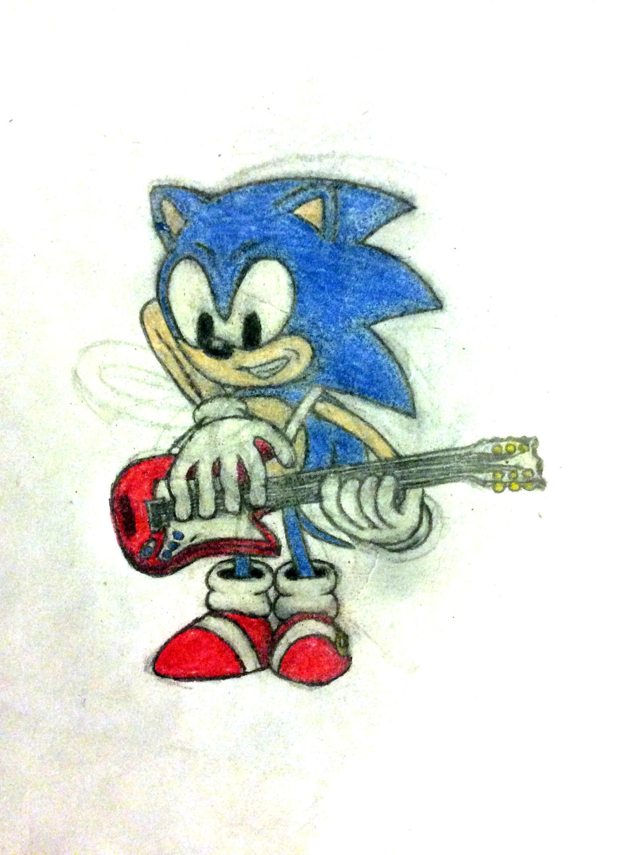 Sonic Playing His Electric Guitar