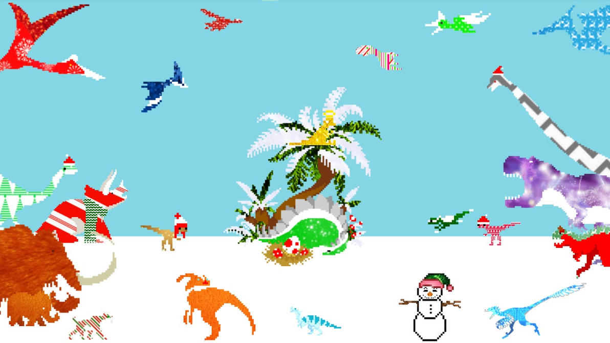 Wallpaper | Dino Run DX | Christmas Dinos | 2 by VirtualDesignerVixen