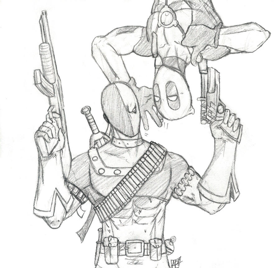 deadpool coloring book pages - deadpool und deathstroke by amrock on deviantart