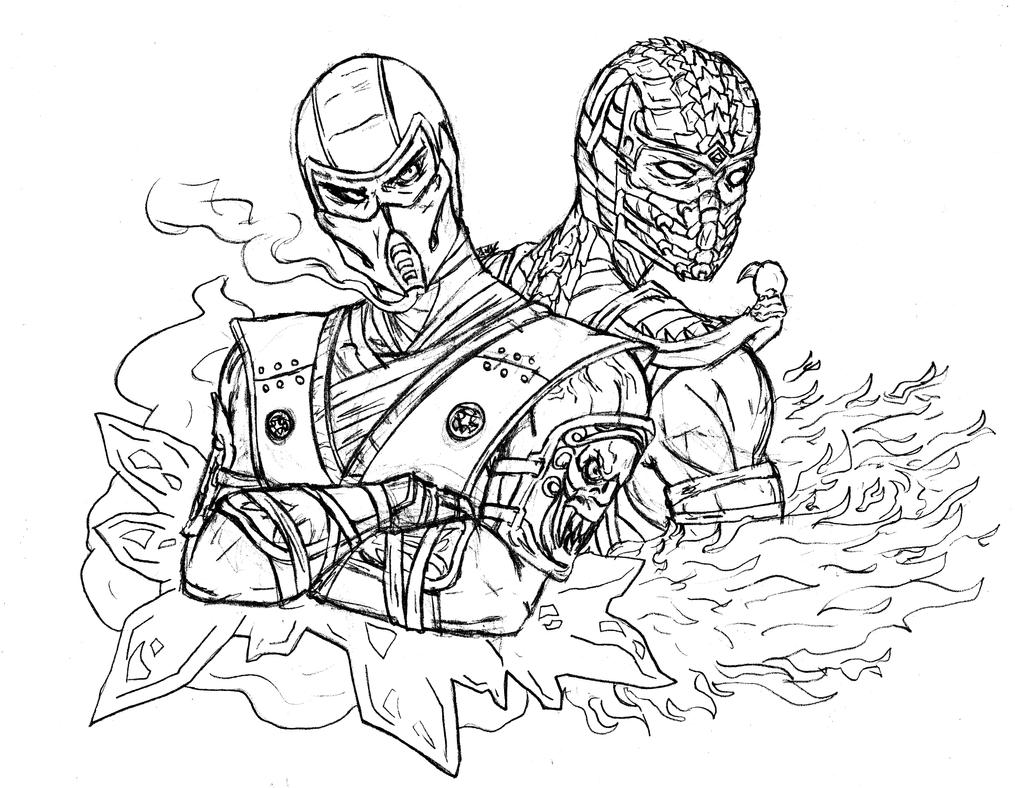 Line Art Zero : Sub zero and scorpion by amrock on deviantart