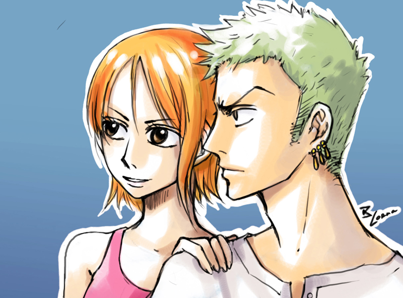 OP_Zoro and Nami by lorna-ka
