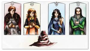 Hogwarts Four and the Sorting Hat by Aquamirral