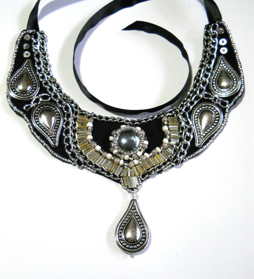 Silver Bib Collar Necklace by AniDandelion