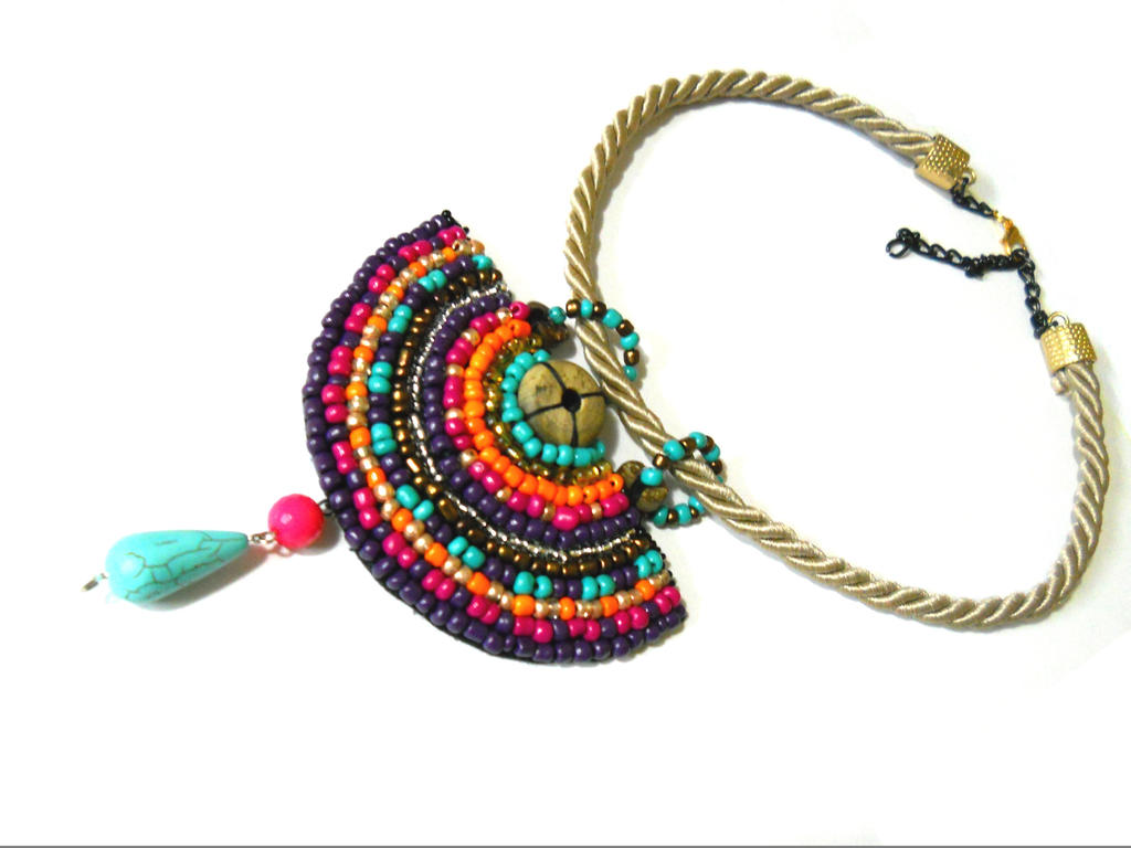colorful beaded necklace by anidandelion on deviantart