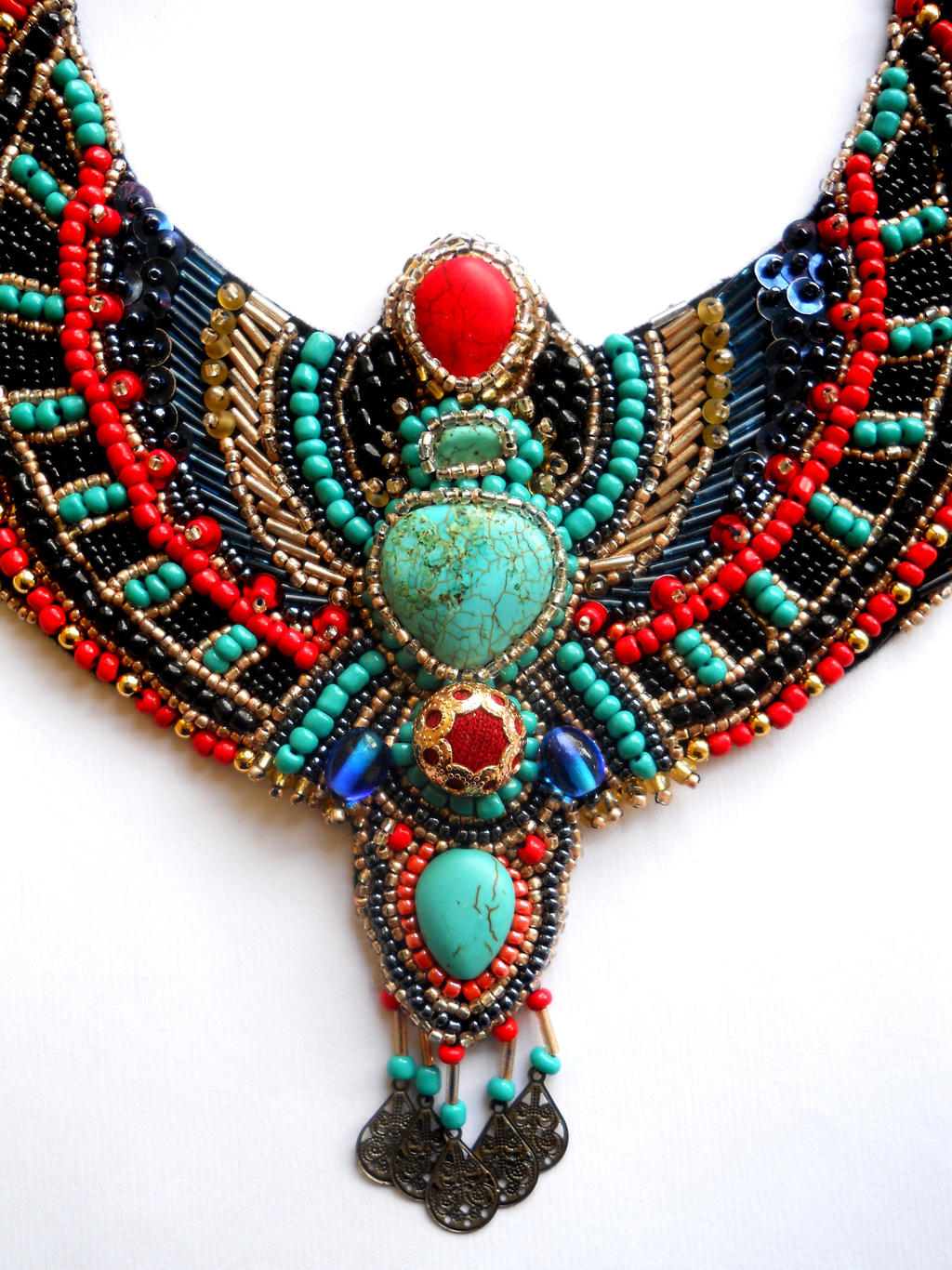 Egypt inspired bib neckalce bead embroidery ajd by