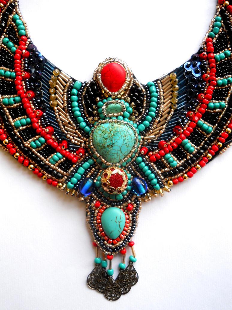 Egypt inspired bib neckalce bead embroidery ajd by