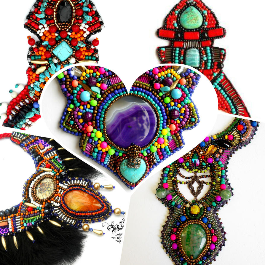 Colorful bead embroidery necklaces by AniDandelion