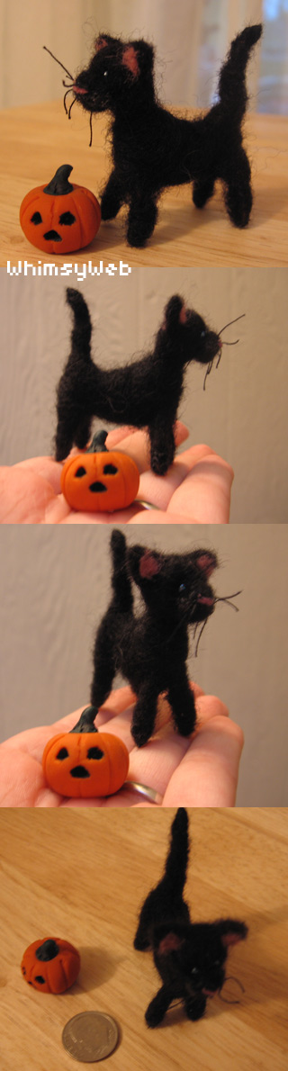 OOAK Needle Felted Black Cat by WhimsyWeb