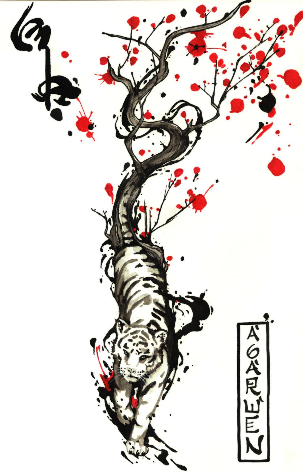 wind tiger tattoo desing by agarwen on deviantart. Black Bedroom Furniture Sets. Home Design Ideas