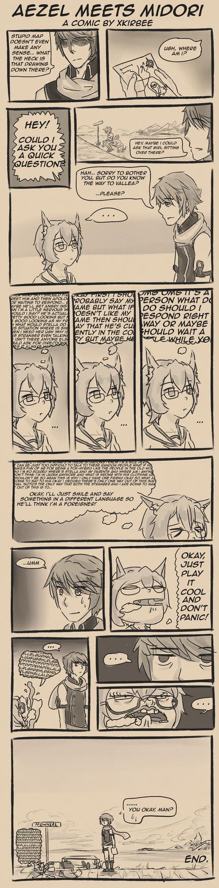 Aezel Meets Midori: The Comic by Kirbeee