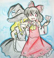 Reimu and Marisa by quynhanhnguyendac
