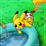 [Commission] Baby Pikachu's first pool time by Veemonsito
