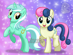 [Commission] Lyra Heartstrings and Bonbon by Veemonsito