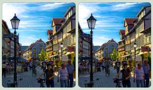 Wernigerode Burgstrasse 3D ::: Cross-Eye HDR by zour