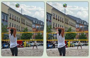 City Beach Volleyball 3-D / CrossEye / Stereoscopy by zour