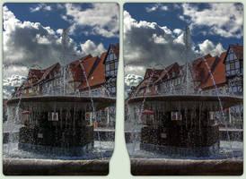 Waterspout fountain 3-D / CrossEye / Stereoscopy by zour