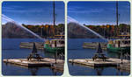 Lake in fall 3-D / CrossView / Stereoscopy by zour