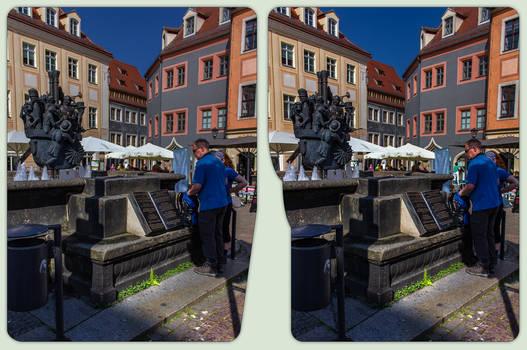 Pirna fountain 3-D / CrossView / Stereoscopy