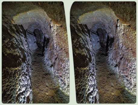 Old mining tunnel 3-D / CrossView / Stereoscopy