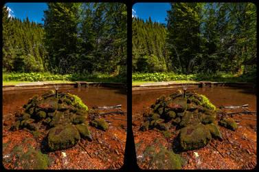 Fountain in the woods 3-D / CrossEye / Stereoscopy