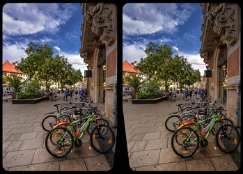 Bicycle parking lot 3-D / CrossView / Stereoscopy