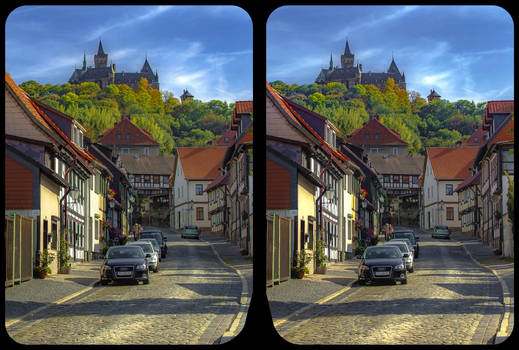 Wernigerode and castle 3-D / CrossView-Stereoscopy