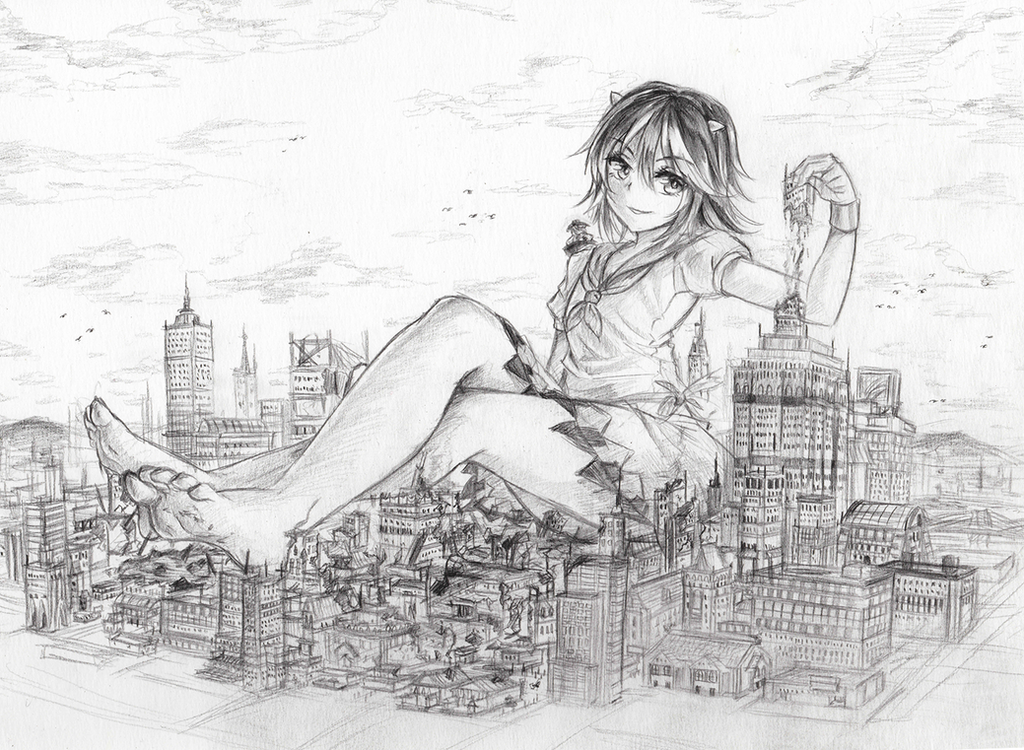 Commission:  Giantess Seija and Shinmyomaru by freezeex