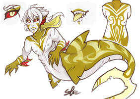 COMM ADOP - Gold Vampire Shark Merman by sofia-1989