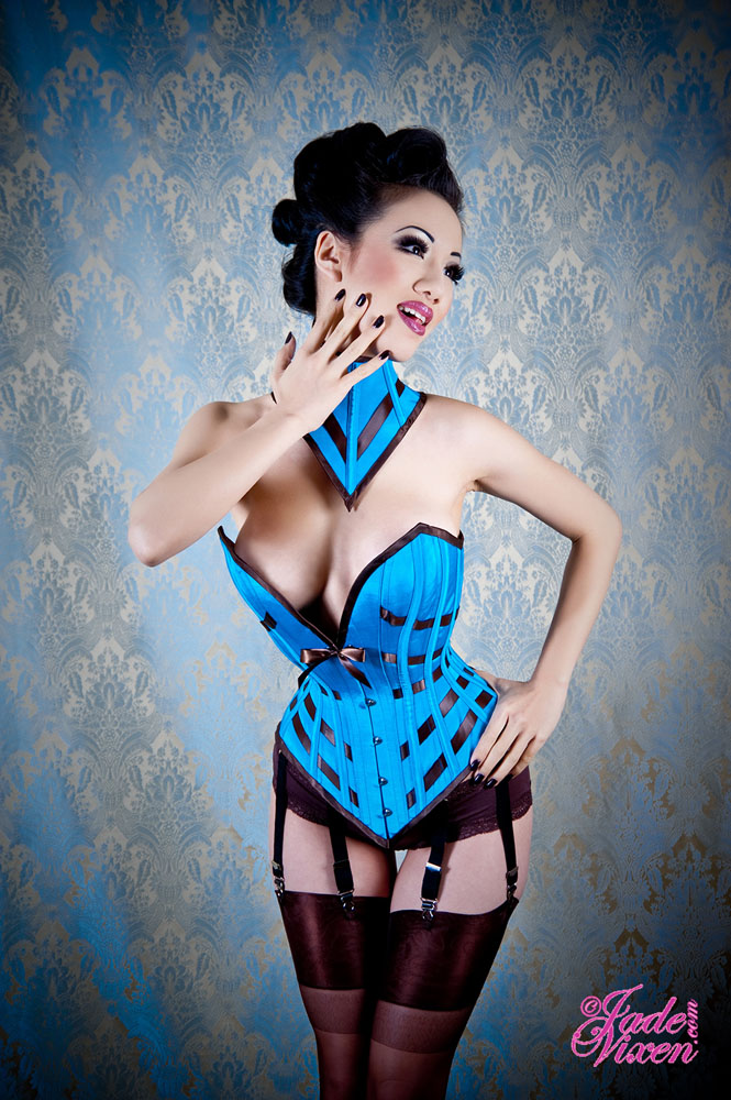 Jade Vixen Blue Lattice Corset by MsJadeVixen