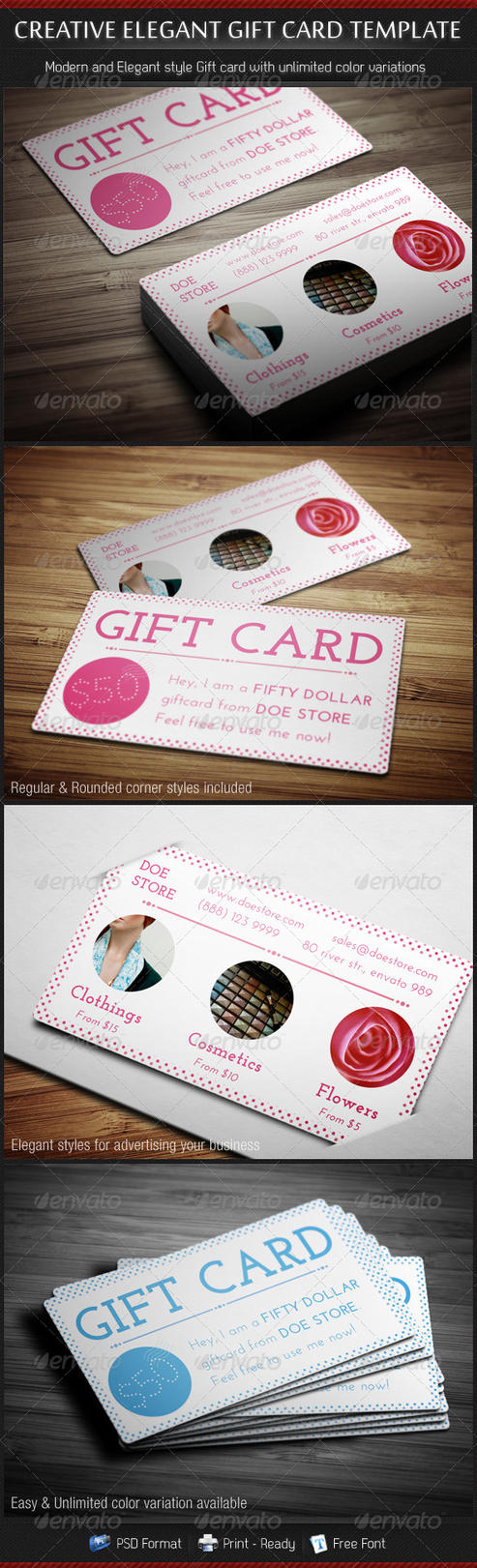 Creative Elegant Gift Card Template by madebygb