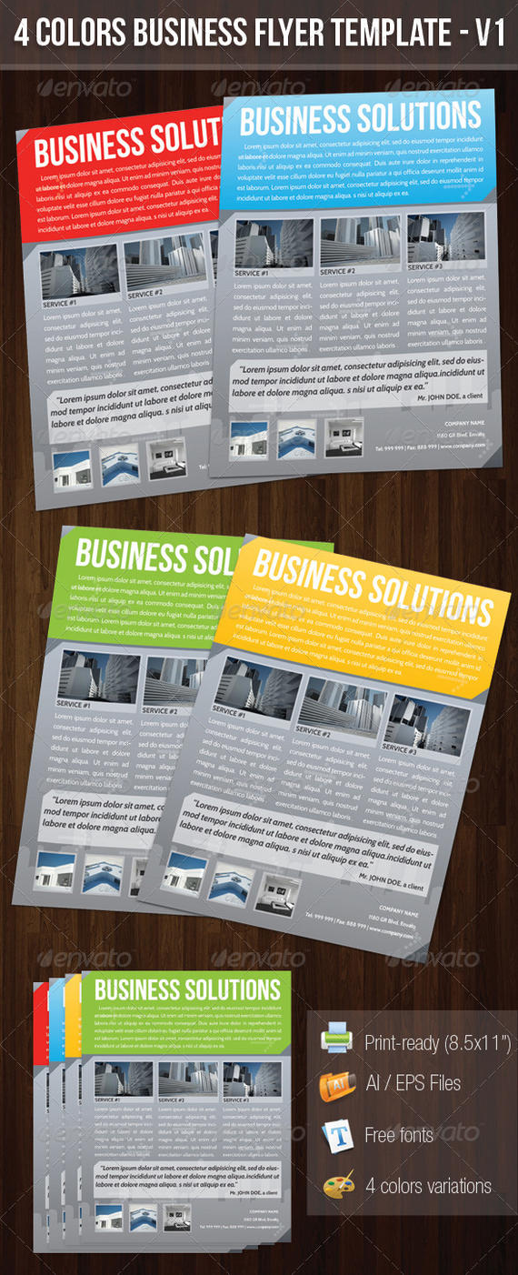 4 Colors Business Flyer Template V1 by madebygb