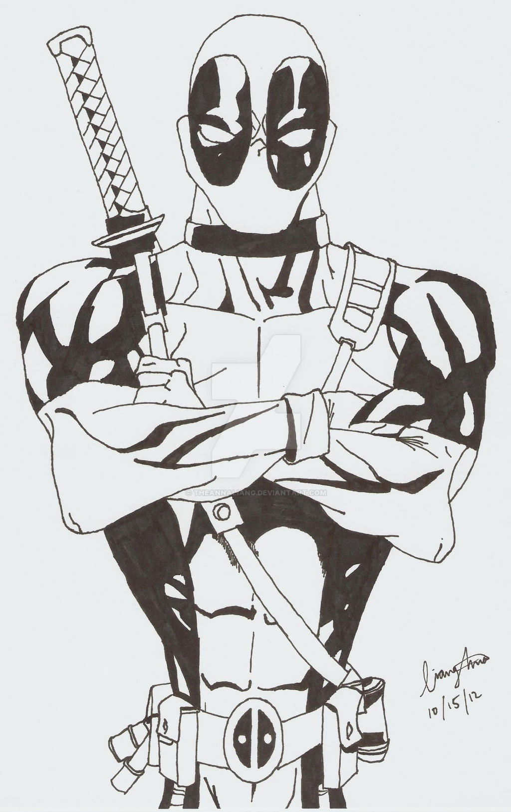 Deadpool Black and White by TheAnnaLiang
