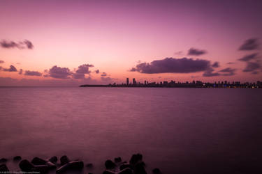 Sunset on Marine Drive by vicken