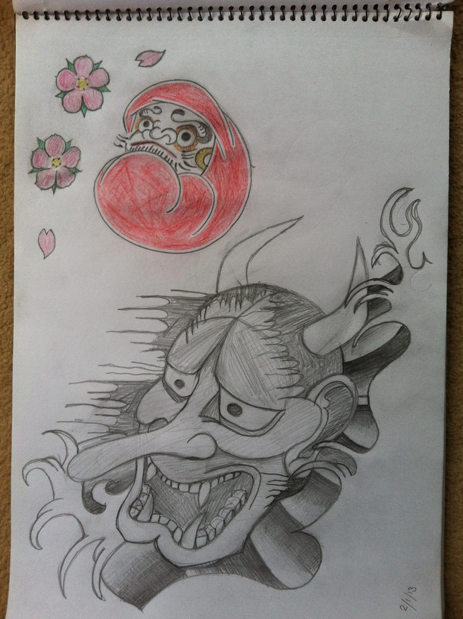 japanese hannya mask and daruma doll tattoo ideas by hobojay on deviantart. Black Bedroom Furniture Sets. Home Design Ideas