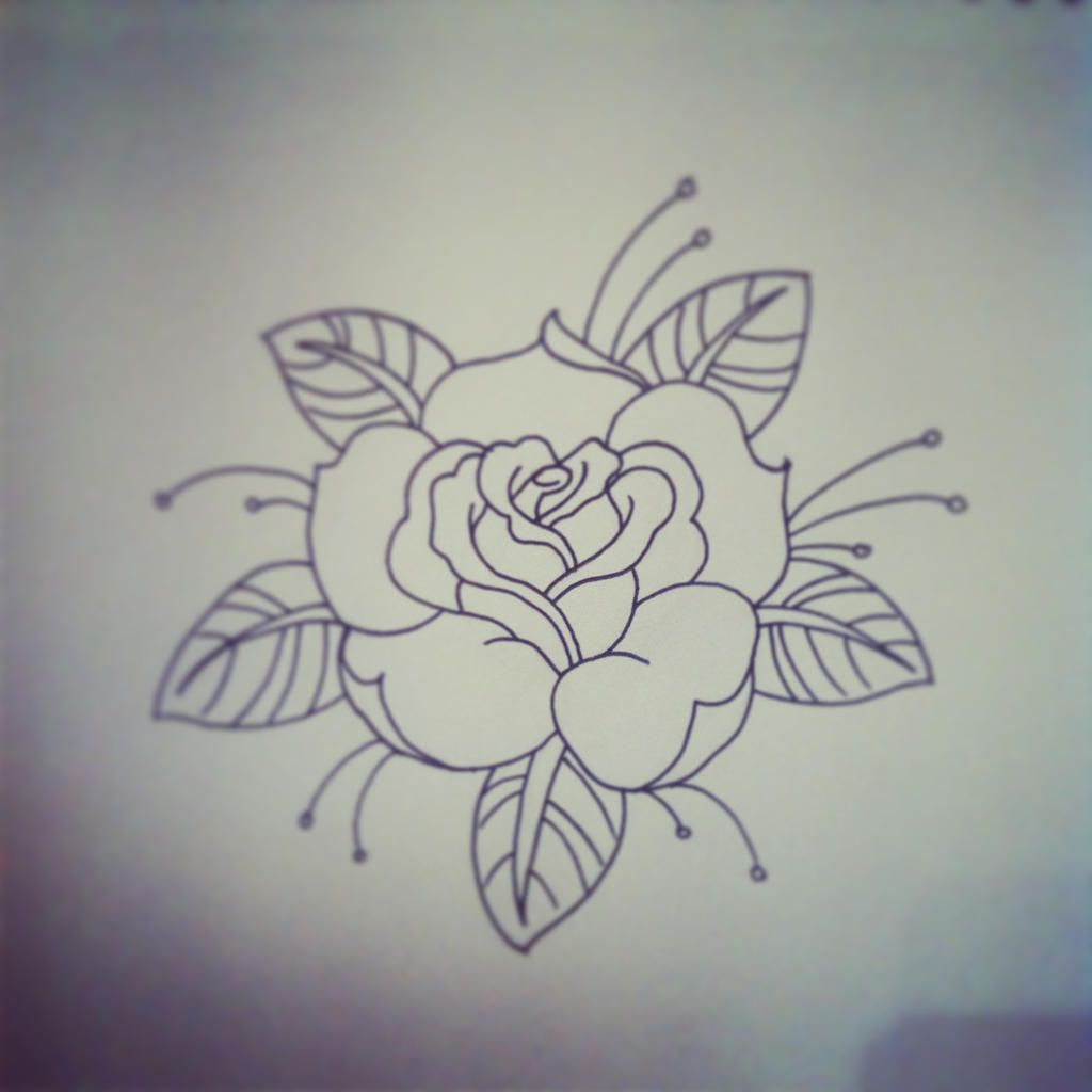 Traditional Tattoo Line Drawing : The gallery for gt neo traditional roses sketch