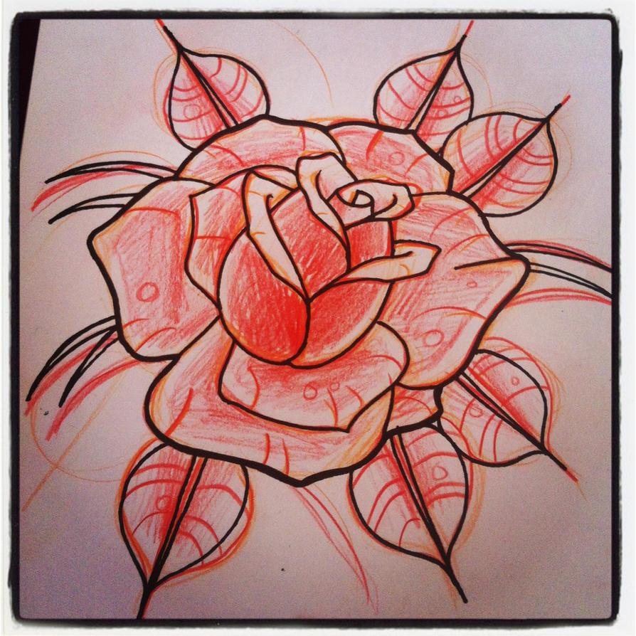 rose tattoo sketch by hobojay on deviantart. Black Bedroom Furniture Sets. Home Design Ideas
