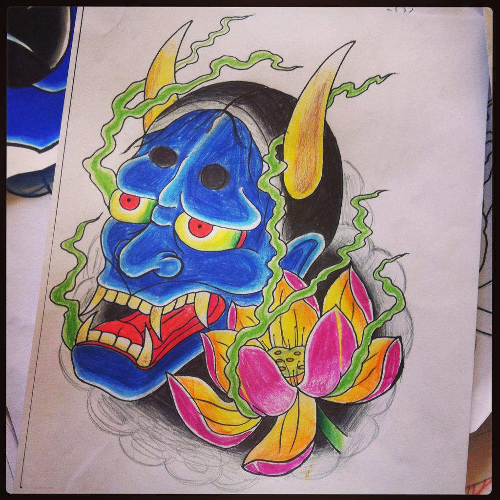 hannya mask with lotus tattoo design by hobojay on deviantart. Black Bedroom Furniture Sets. Home Design Ideas