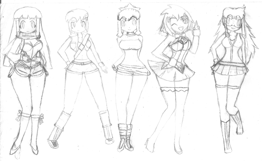 Kerogirls Vs - Casual Clothes Sketches 01 by NeonDZ on DeviantArt
