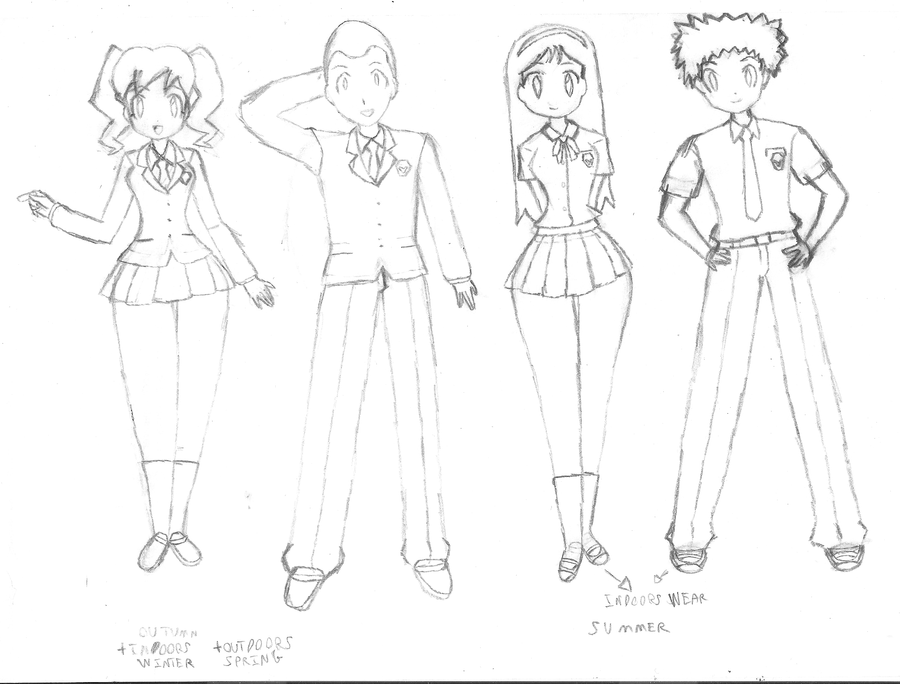Keroro - Kishou School Uniform Sketches 01 By NeonDZ On DeviantArt