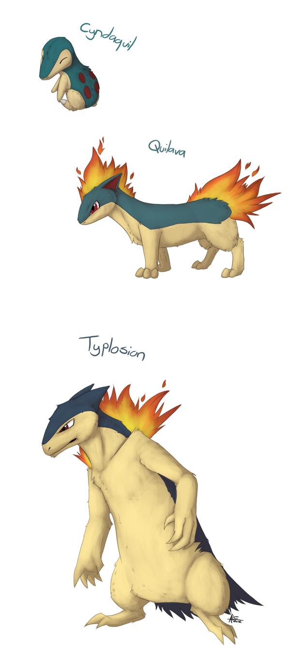 Cyndaquil evolutions by cobu96 on DeviantArt