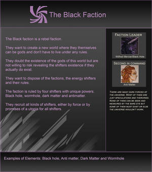 Elementshifter info - The Black Faction by YouAreNowIncognito