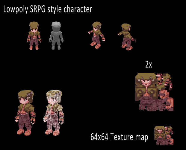 Final Fantasy Tactics style low poly model by ansemsnobody